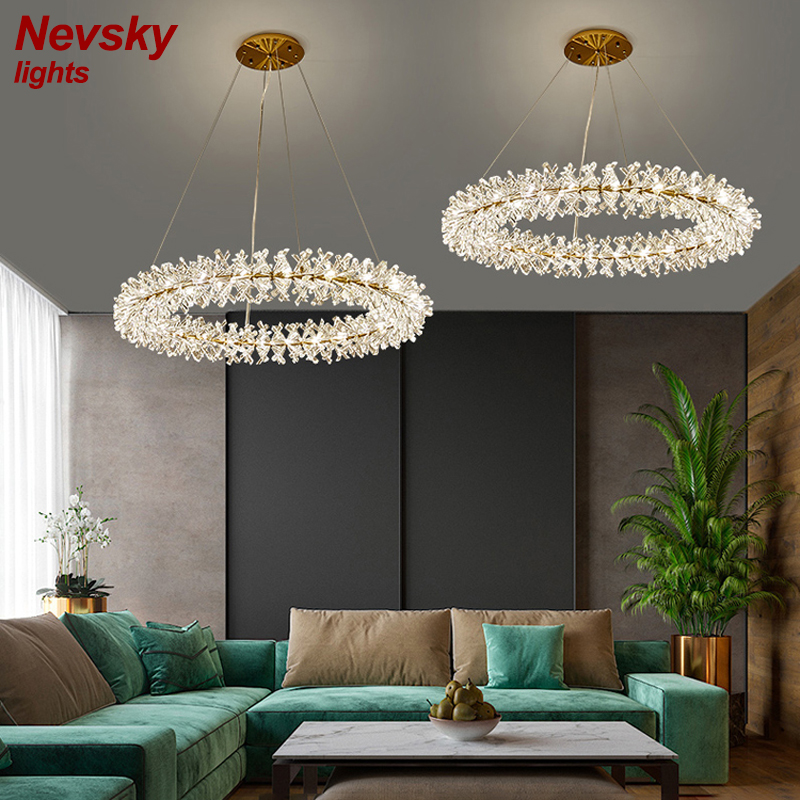 Modern Golden Circle Rings With Crystal Chandelier Lighting For Living Room Led Luxury Crystal Lustre Dining Minimalist Lights