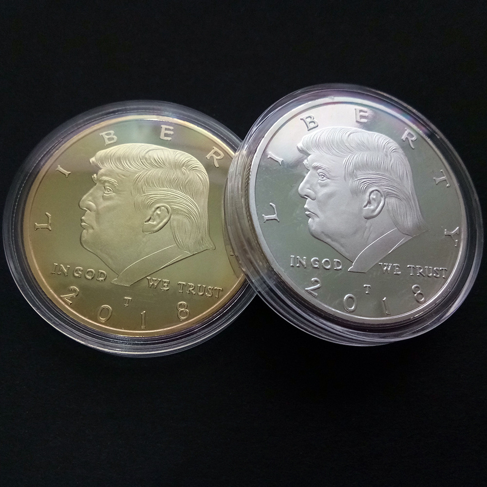 Gold Coin American 45th President Donald Trump Coin US White House The Statue of Liberty Silver Metal Coin Collection Mar21(China)