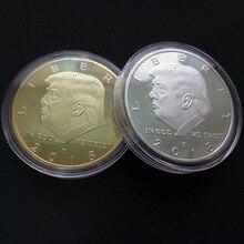 Золотая монета Американский 45-й президент Дональд монета с изображением Трампа Белый дом США Статуя Свободы Серебряная коллекция металлических монет Mar21