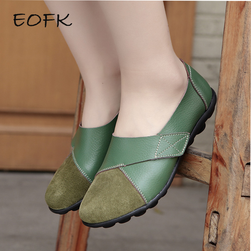 EOFK Women Flats 2019 Spring Fashion Comfort Genuine Leather Flat Shoes Woman Sl