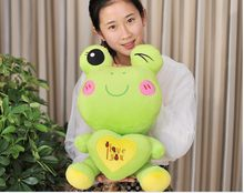 middle lovely plush green cartoon frogs toy soft cute frog doll with heart about 60cm 0042(China)