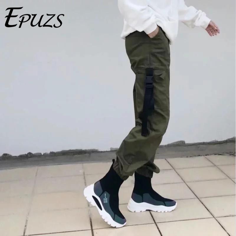 Autumn winter thick green black camo   pants   women high waist   pants   loose trousers joggers warm   Capris   cargo   pants   streetwear