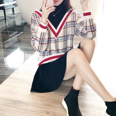 Collège Était Plaid Femmes 2018 Nouveau Mince Couleur Treillis 1 Vent Femme Couture Printemps Hit Robe SwxSPar