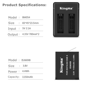 Image 2 - 2019 1/2/3pcs For Insta 360 Chargeable Battery Pack+ Intelligent Display Dual Slots Charger For Insta360 One X Camer Accessories