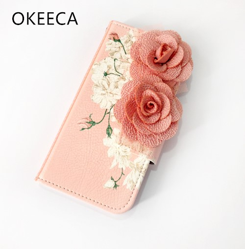 OKEECA Leather 3D Flower Wallet Phone Case for iPhone 5 5s 5c 6 6s 6plus 6splus