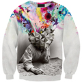 Personality style autumn Sweatshirt 3D Painted Eggshell Fleeces Printing shirts For girl hip hop casual loose clothings