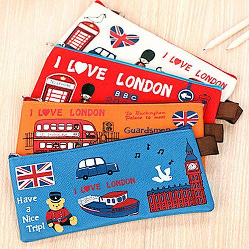 Students Pencil Bag Pen Case Cartoon London Style Zipper Cosmetic Pouch Coin Purse