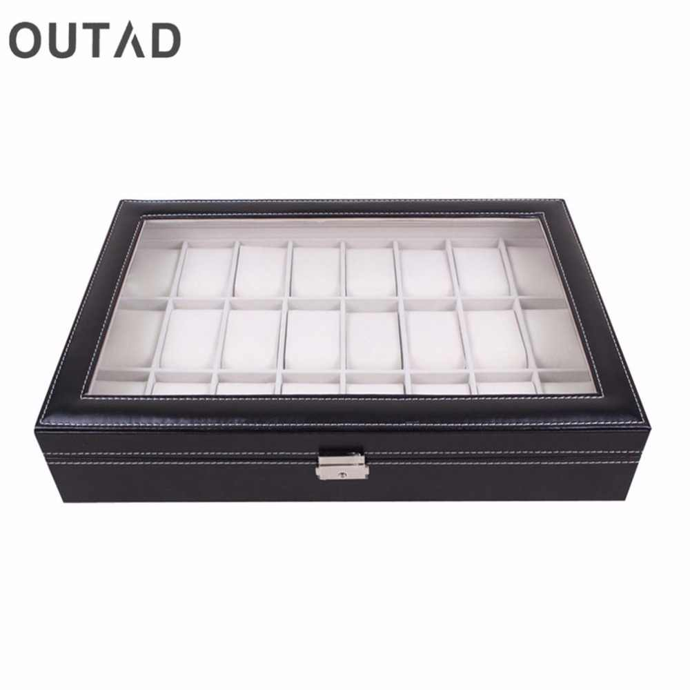24 Grid Watch Box Glass Black Leather Wristwatch Storage Case Organizer Classical Holder Foam Pillow Transparent