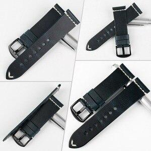 Image 2 - MAIKES Vintage Öl Wachs Leder Uhr Band Uhr Zubehör Armband 20mm 22mm 24mm Blau Armband Armband für Omega MIDO