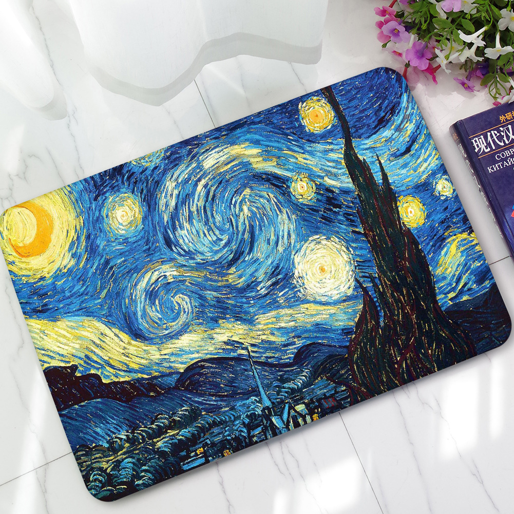 Van Gogh Abstract Oil Painting Rubber Flocking Entrance Floor Mat ...