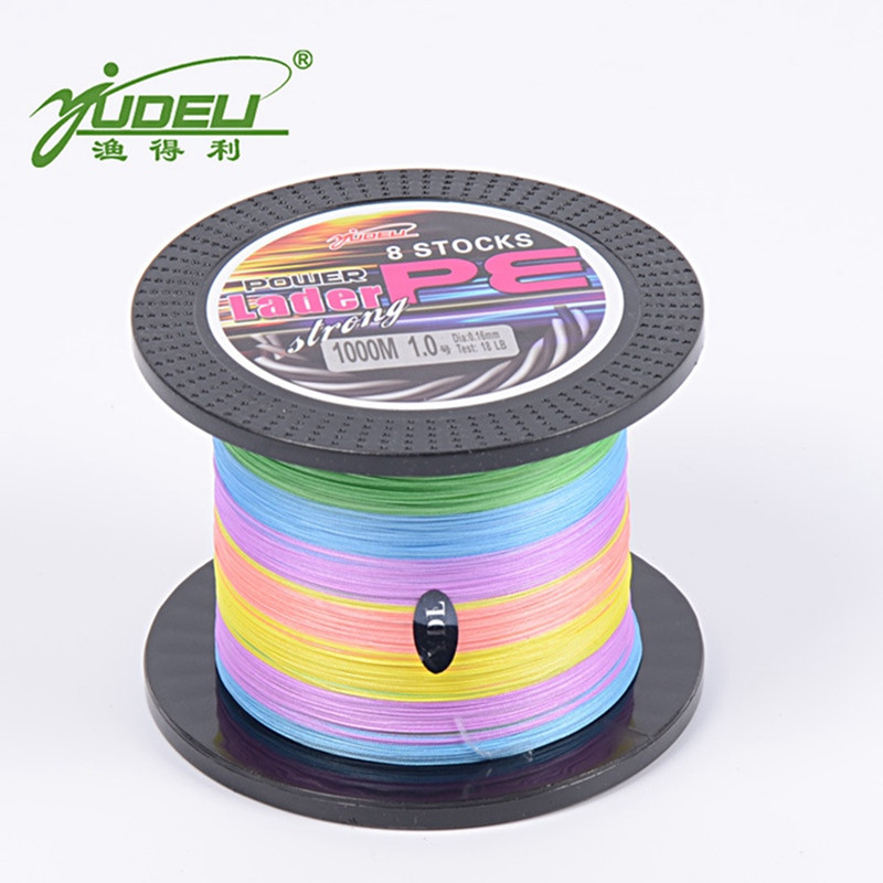 YUDELI 1000M Fishing Reel PE Wire 8 Braided Fishing Line Bait lure Accessory Strong Fishing Line Carp Fishing Cord Fishing Rope free shipping 500m 4250lb sailboat rope extreme strong 4 5mm uhmwpe braided wire