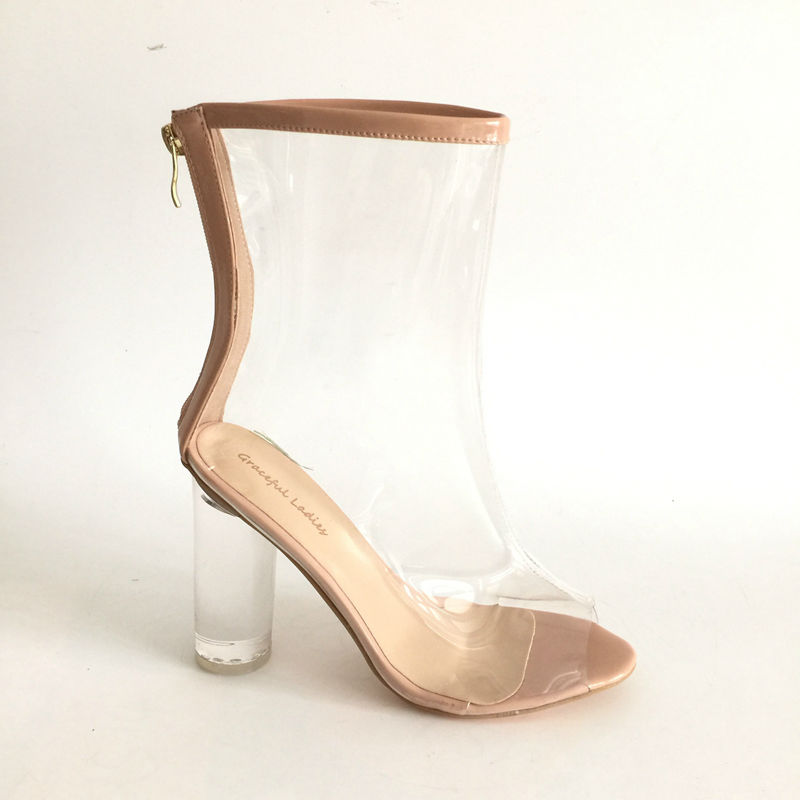 Transparent Boots Women Nude Patent Leather Ankle Boots for Women Boots Clear Round Heel Peep Toe 2017 Back Zipper Shoes shiningthrough 2018 round toe cow leather solid nude women ankle boots thick heel brand women shoes causal motorcycles boots