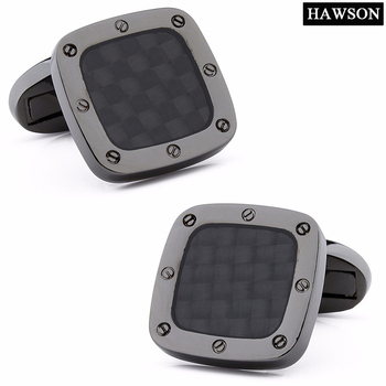 HAWSON - Classic Carbon Fiber Cufflinks Square Black Metal