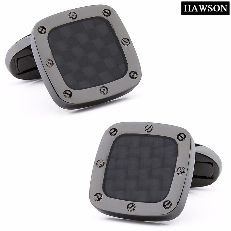Classic Carbon Fiber Cufflinks Square Black Metal Cuff links Enamel Jewelry Cufflink for Mens Shirt