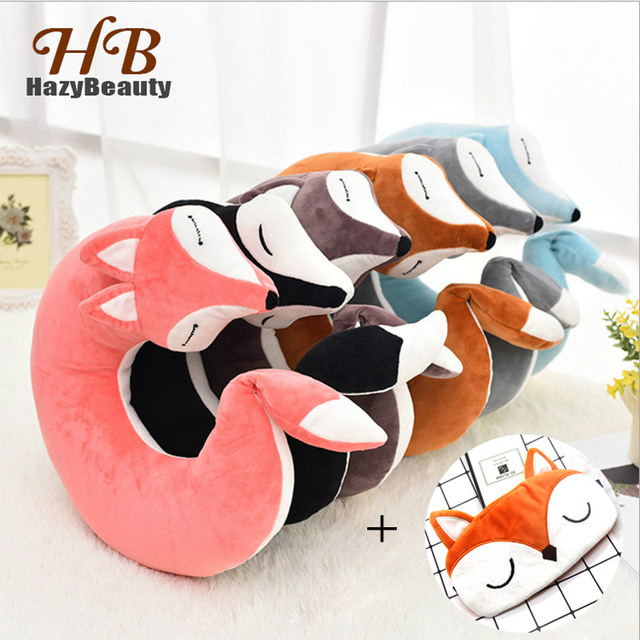 HazyBeauty Lovely Fox Animal Cotton Plush U Shape Neck Pillow Travel Car Home Pillow Nap Pillow Health Care with Eye Mask