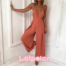 Strap Backless Long Jumpsuits Women Solid Back Bow Flare Leg Playsuit 2018 Summer Beach Loose Jumpsuit Laipelar