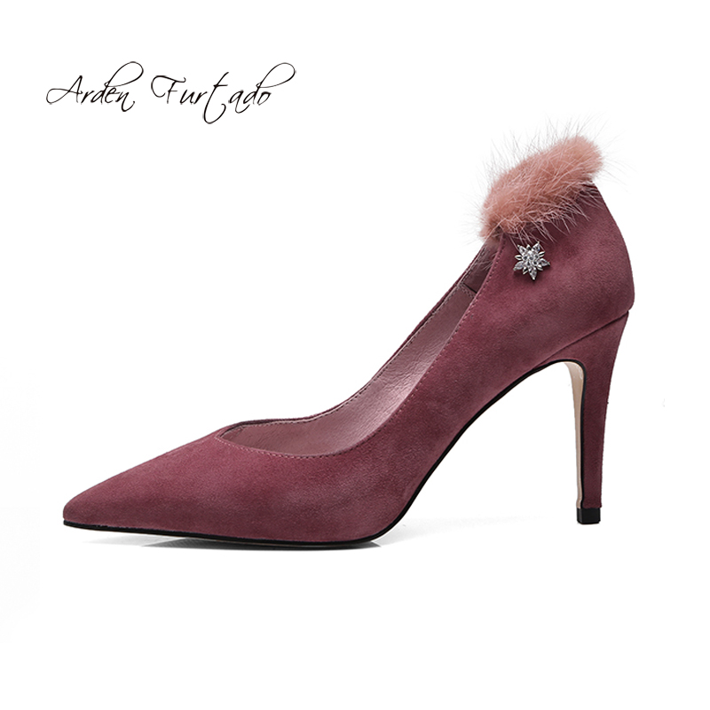 Arden Furtado 2018 spring autumn genuine leather slip on fashion high heels  9cm fur pumps grey black suede stilettos red shoes-in Women s Pumps from  Shoes ... db75a8cede35