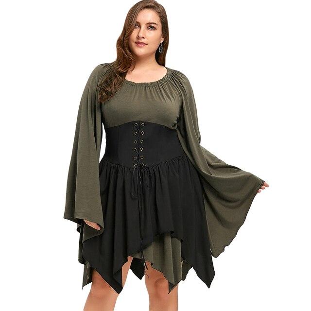 Gamiss Women Autumn Gothic Dress Plus Size 5XL 4XL Batwing Sleeve ...