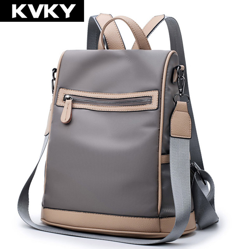 KVKY Brand 2017 Fashion Women Backpacks High Quality Solid Nylon Female School Shoulder Bags For Teenager Girls Travel Rucksacks backpack women school bags brand backpacks women high quality large capacity teenager backpacks for teenage girls student bags