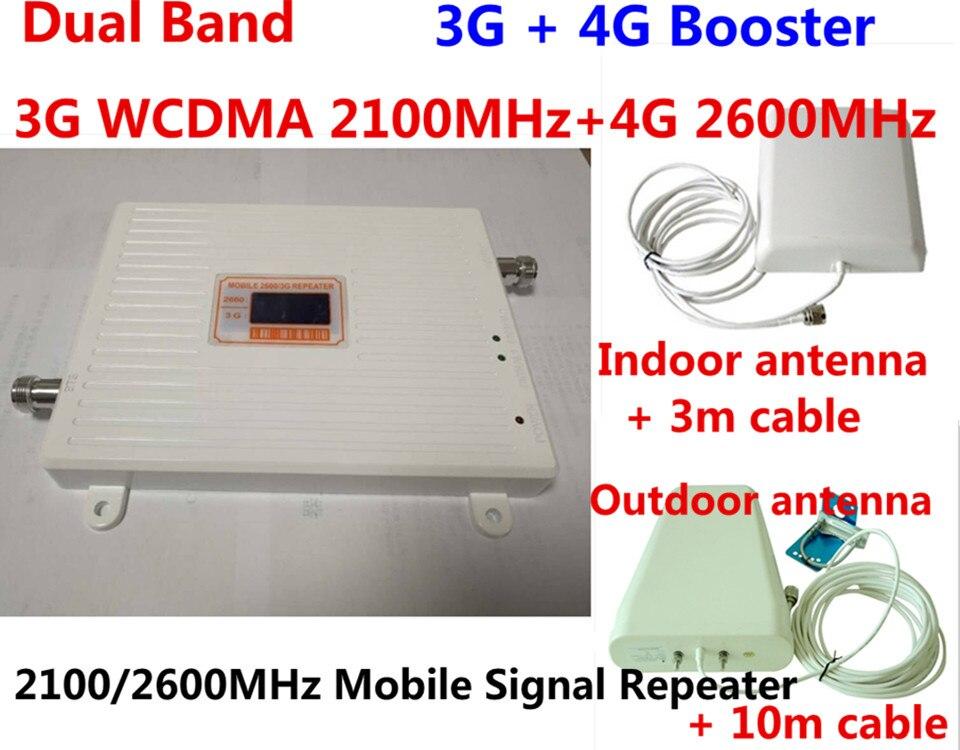 LCD display Verstärkung 70dB gsm repeater 2100 2600 zellulären signalverstärker 3g wcdma 4g LTE 2100 2600 dual-band-handy-signal-verstärker verstärker