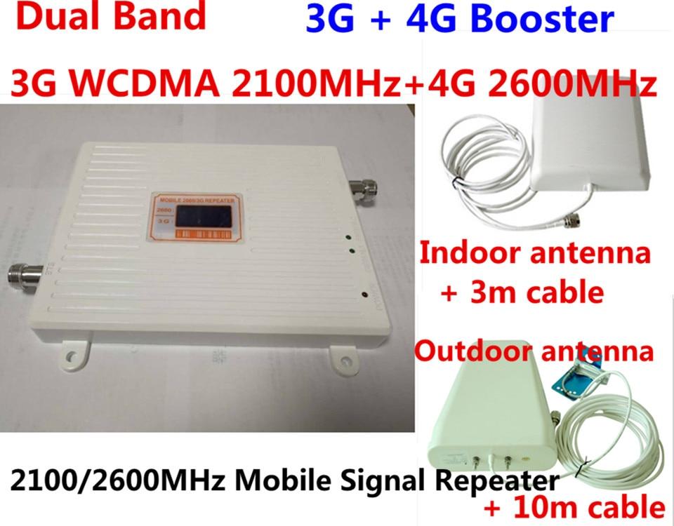 Pantalla LCD ganancia 70dB repetidor GSM 2100 2600 amplificador de señal celular 3G WCDMA 4G LTE 2100 2600 Doble banda amplificador de señal móvil