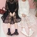 Корейской Моды Женщины Платья Дамы Свежий Легкий Органзы Кружева Вышивка Overskirt С Длинным Рукавом Перспектива Dress 2 Шт.