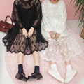 Korean Fashion Women Dresses Ladies Fresh Easy Organza Lace Embroidery Overskirt Long Sleeve Perspective Dress 2 Piece