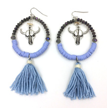 2016 new crystal beads dangle earrings with cotton tassel summer style Bull skull charm earrings antique silver