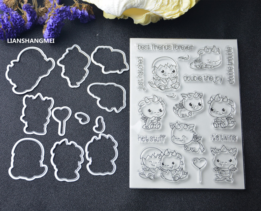 Twin dinosaur Metal Cutting Dies and stamp Stencils for DIY Scrapbooking/photo album Decorative Embossing DIY Paper Cards Making