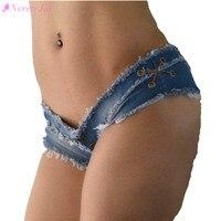 Pole Dancing Sexy Womens Summer Crystal Shorts Jeans Denim Micro Mini Jean Ultra Low Rise Waist