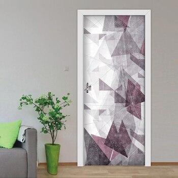 Porta Adesivos Linhas Geométricas Simples Porta Da Sala de estar Quarto Papel De Parede Adesivos de Parede de PVC Auto Adesivo de Parede Decalques Imitação 3D