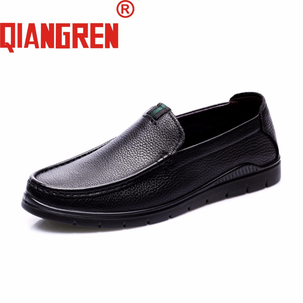 QIANGREN Military Brand Men's Spring Autumn Genuine Leather Black Brown Casual Loafers Shoes Cow Leather Leisure Shoes TPU Sole benzelor men shoes 2017 spring autumn genuine leather business casual shoes quality brand massage sole black brown color hl67624