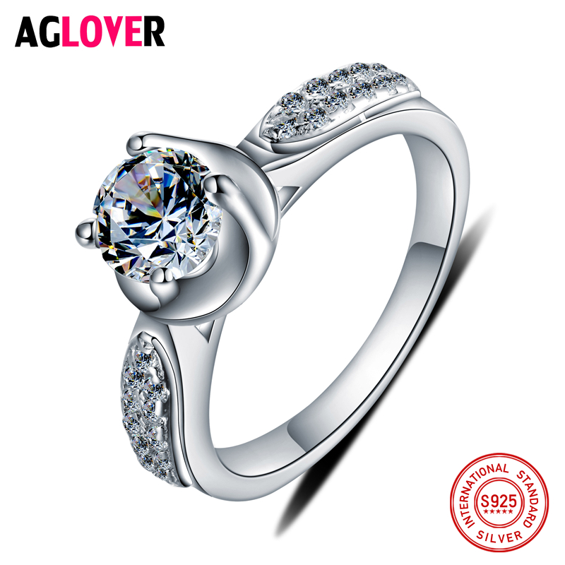 Refined Silver 925 Classical Engagement Ring Female Ring With Crystal Jewelry Girl's Gift Jewelry