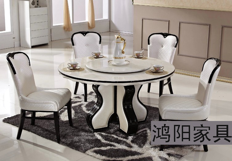 Ikea white marble dining table round table turntable solid