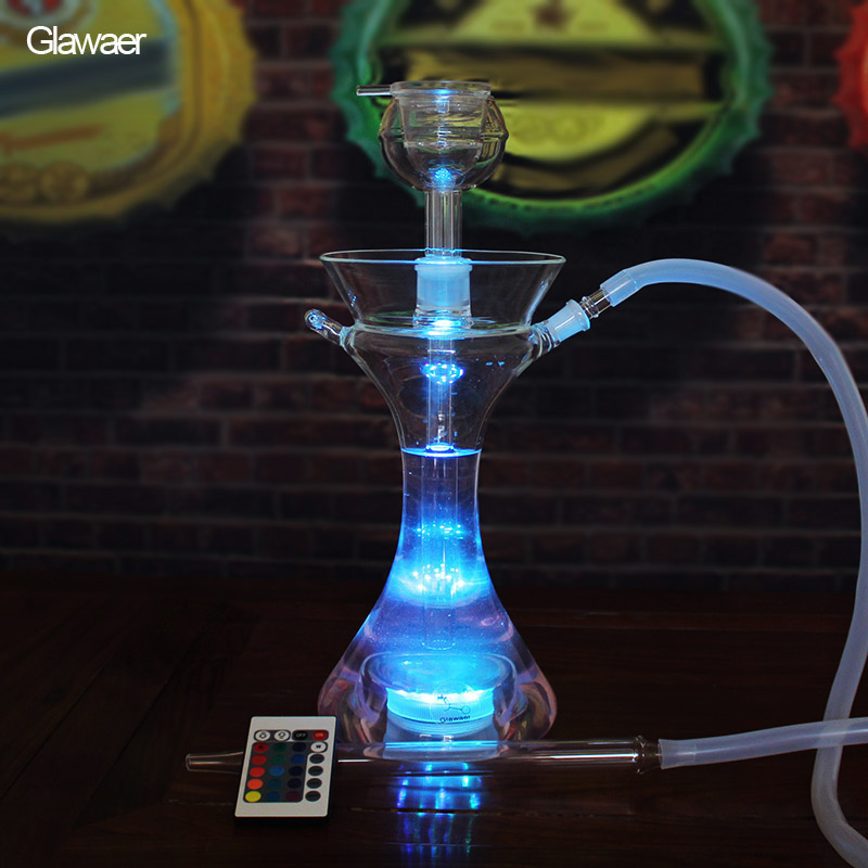Narguilé en verre chicha narguilé assorti bol clair avec tuyau en Silicone un cadeau de fumer sain portable chicha nargile