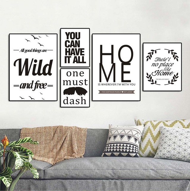Wall Art Canvas Posters Prints Nordic Love Quote Paintings Black