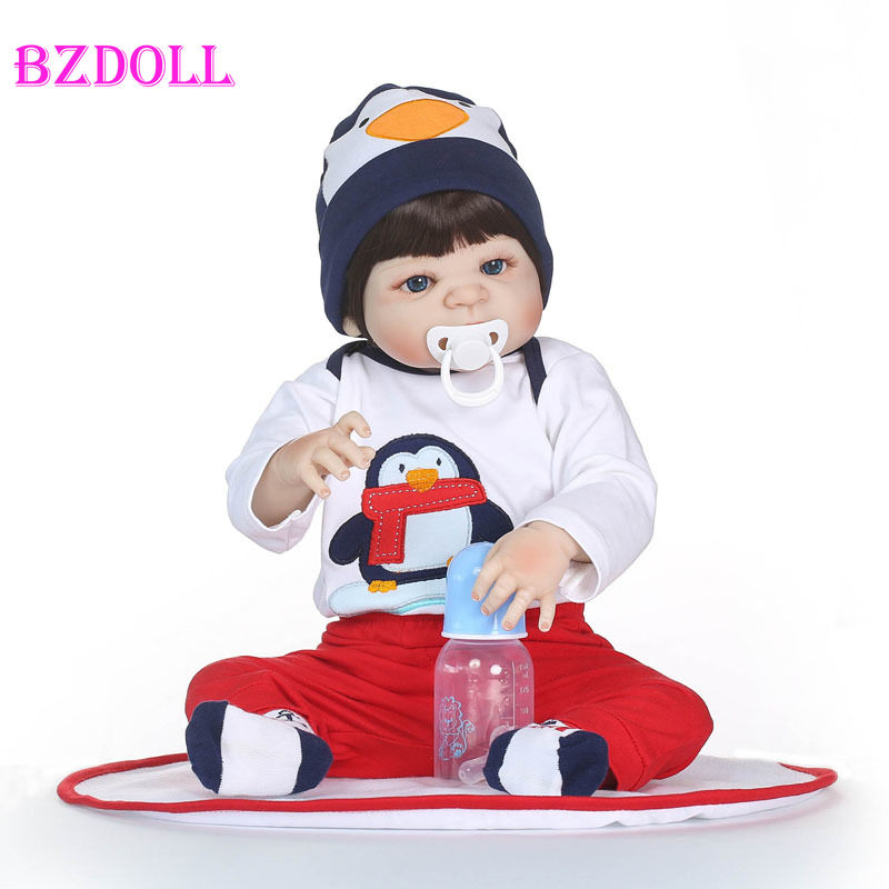 55cm Full Body Silicone Reborn Baby Boy Doll Toy Lifelike Vinyl Newborn Babies Children Growth Partner