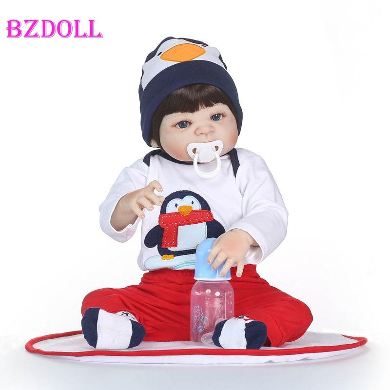 55cm Volle Körper Silikon Reborn Baby Boy Puppe Spielzeug Lebensechte Vinyl Neugeborenen Babys Kinder Wachstum Partner Mädchen Bonecas Lebendig bebe-in Puppen aus Spielzeug und Hobbys bei  Gruppe 1