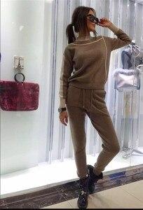 Image 5 - 女性ジャージ 2018 秋のファッションタートルネックのセーター + スリムパンツニットスーツ女性ストライプツーピースセットtwinset 2 個セット