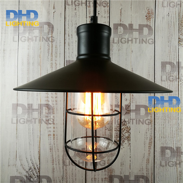Free Shipping Black Iron Cage With Gl Shade Vintage Edison Filament Lighting Fixture Retro Ac 110v