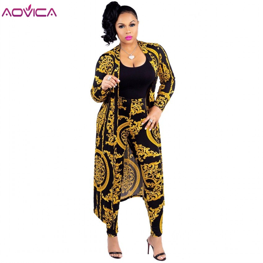 3XL Plus Size 2 Pieces Set Sexy Autumn Fashion Women Set Female Tops Floral Print Long Sleeve Cardigan Bodycon Stripe Pants