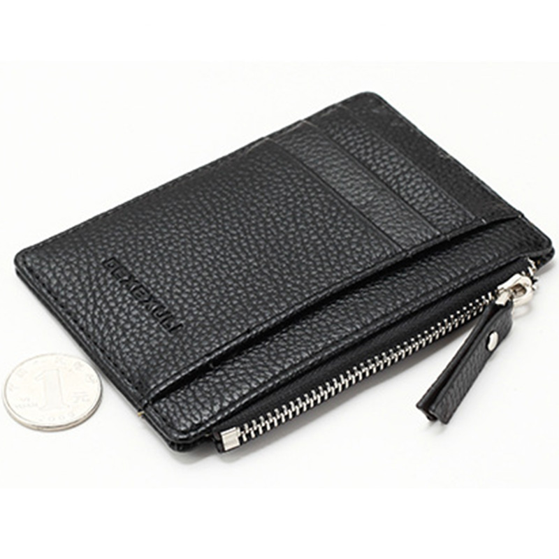 3817293d844 Wallet Mini Leather Card Holders 8 Card Slots Purse Small Men Wallet Women  Zipper Coin Pocket Ultra Thin Wallet-in Wallets from Luggage   Bags on ...
