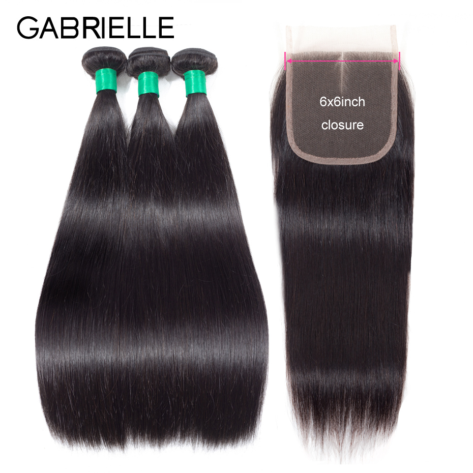 Gabrielle Remy Hair Weave Bundles with 6 6 Lace Closure Brazilian Straight Human Hair 3 Bundles
