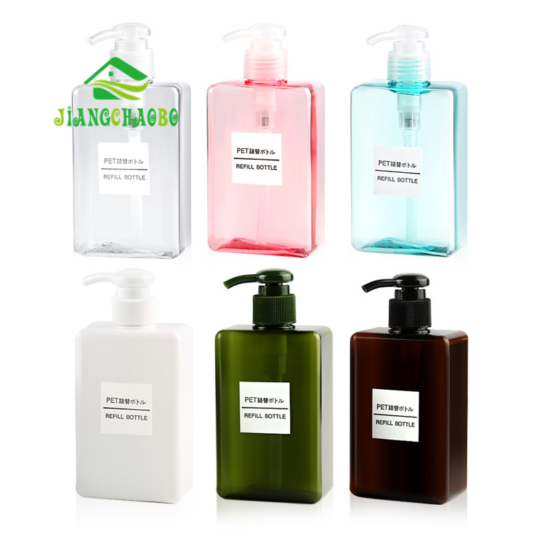 JiangChaoBo 280ml Lotion Bottle Square Petg Press Plastic Bottle Shampoo Face Wash Bottle