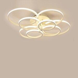 Image 4 - Lustres modernos luzes led luminárias de jantar para casa interior preto anéis sala estar quarto lâmpadas com controle remoto lustre