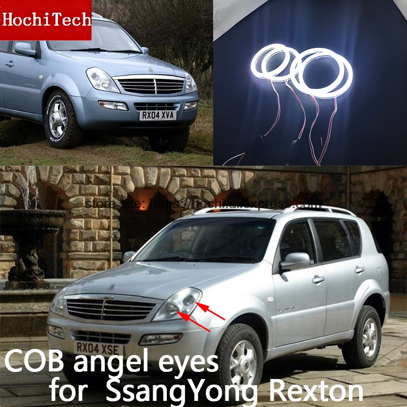 For Ssangyong Rexton 2003 2004 2005 COB Led day Light White Halo Cob Led Angel Eyes Ring Error Free Ultra bright free shipping vland factory for is200 is300 led headlights 2001 2202 2003 2004 2005 angel eyes plug and play
