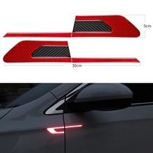 2 шт./компл. автомобиля Светоотражающая Предупреждение ленты бампер автомобиля светоотражающие полоски безопасный отражатель наклейки на ногти