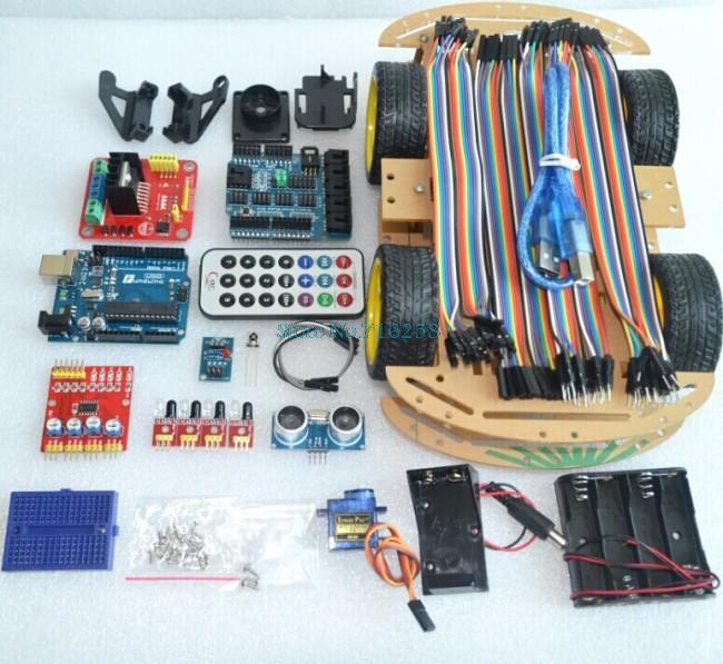 Multi-Fonctionnelle 4WD Robot Voiture Kits Conseil Capteur À Ultrasons Module Robot Kit de Montage de Voitures