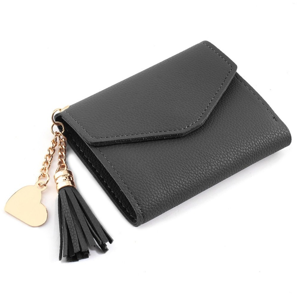 Luxury Women Fashion Wallet Female Leather Wallets Lady Small Hand Bags/Evening Bags/Clutch Purse With Tassel & Metal Heart Hot fuzzy metal clutch wallet