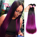 7A Purple Straight Hair Weaves 3 Bundles/Lot 2 Two Tone Ombre Color 1B / 27 Brown Blue Red Purple Peruvian Human Hair Extensions